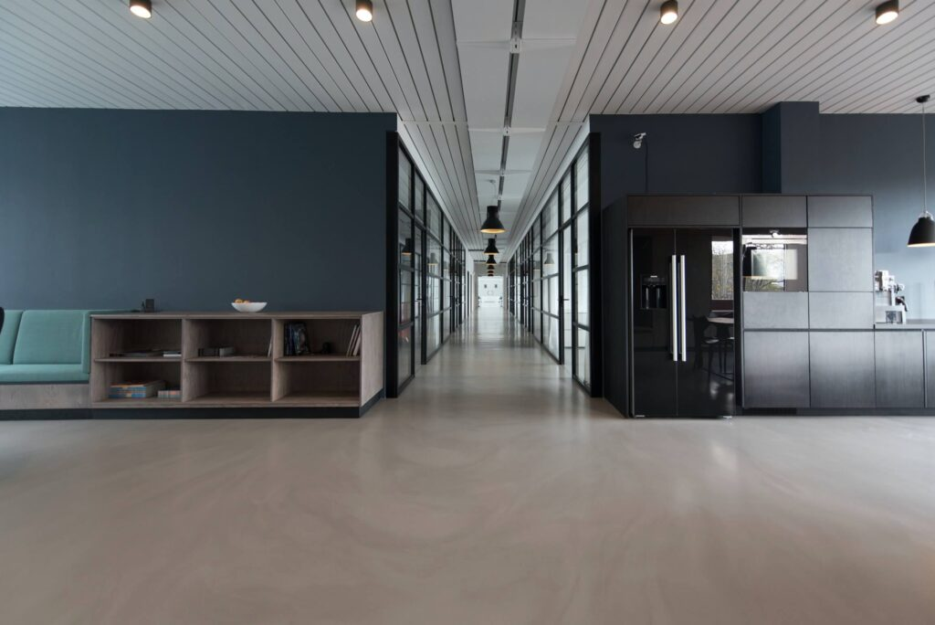 grey office space and hallway